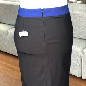 NWT Black Skirt with Blue Piping and Waistband